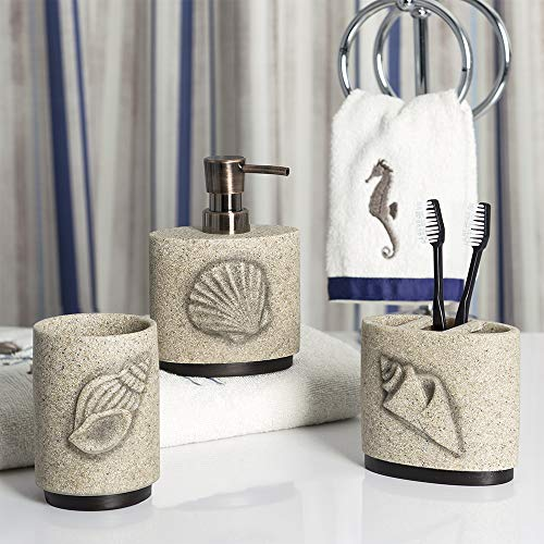 Allure Home Creations Folly Beach Lotion Pump/Toothbrush Holder/Tumbler 3Pc Set ()