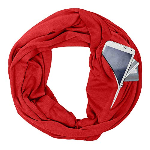 OldSch001 Unisex Lovers Winter Solid Warm Loop Scarf Zippered Secret Pocket Shawl Ring for Women Men(Red)