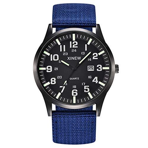 2019 Summer Deals ! Men Boy Round Dial Nylon Strap Band Military Date Quartz Wrist Watch Gift Wrist Watch for Men Under 10