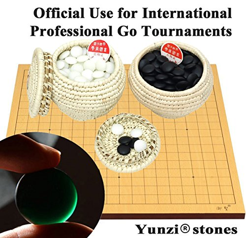 Go Game Yunzi 雲子牌 Double Convex Stones and Grass Knitted Bowl Holders Set w/ 181 Black Stones,180 white Stones and 10 spares stones (21 mm dia x 5 mm thick) + Go Wooden Board USA SELLER by We pay your sales tax
