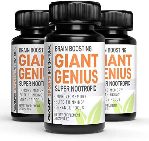 Giant Genius Super Nootropic Brain Boosting with Natural Herbs for Memory and Brain Health   Mind Enhancement with Ginkgo, Rhodiola Rosea, and Huperzine A (2 Pack) 60 Capsules