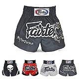 Fairtex Muay Thai Boxing Shorts Red Black White Size S M L XL XXL (3L) (Fortune Black S)