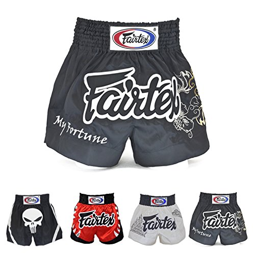 Fairtex Muay Thai Boxing Shorts Red Black White Size S M L XL XXL (3L) (Fortune Black S) Twins Muay Thai Boxing Shorts