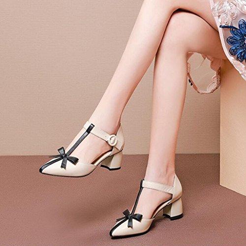 Huecos Sandalias con Blanquecino Tamaño Zapatos Color tacón CN38 marrón de Apagado Blanquecino 5 MUMA Gruesas Simples Blanco Femeninas UK5 Zapatos EU38 xpYwnRt8