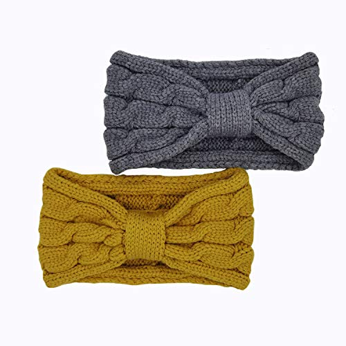 2 Pcs Headband for women Turban Bulky Crocheted Headwrap Elastic Bow hair band accessories for Teen Girls (yellow, grey)