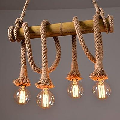 Ting-w Industrial Hemp Rope Bamboo Edison LED Antique Metral 4-light Pendant Hanging Light