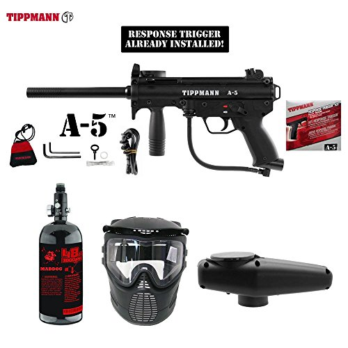 MAddog Tippmann A-5 w/Response Trigger Beginner HPA Paintball Gun Package - (Response Trigger System)