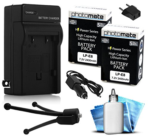 (2 Pack) PhotoMate LP-E8 LPE8 Ultra High Capacity Rechargeable Battery (2400mAh) + Rapid Home AC Wall Charger + Car Adapter + Euro Plug + Cleaning Kit + Mini Tripod for Canon EOS 550D, 600D, 650D, 700D, Rebel T2i, T3i, T4i, T5i, Kiss X4, X5, X6, X7i DSLR Digital Camera