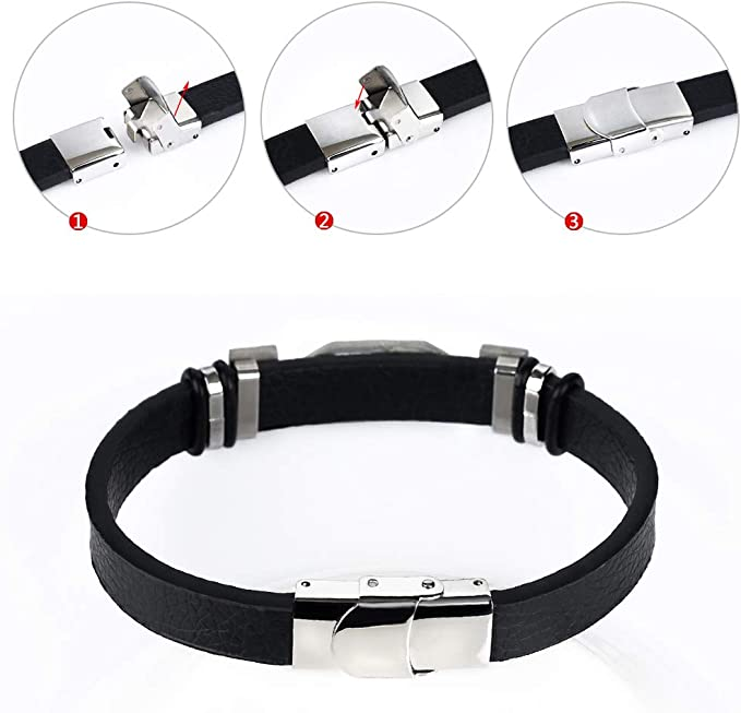 Black Leather Men\u2019s Bracelet with Silver Plated Priestly Blessingis studded with white zircon stones birthday gift gift for men