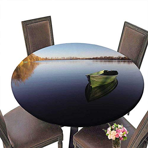 PINAFORE Luxury Round Table Cloth for Home use Single Rowboat on Lake with Reflection in The Water for Buffet Table, Holiday Dinner 55
