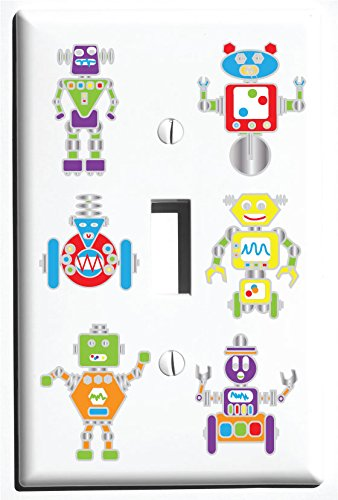 Robot Single Toggle Light Switch Plate Covers / Robots Nursery or Children's Wall Decor (Single Toggle)