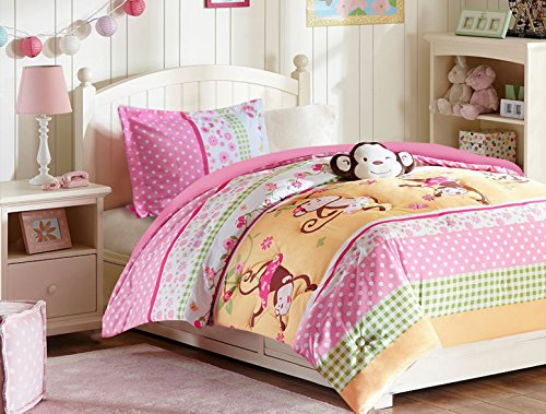 Furry Bedding Pink Dot (All American Collection 3 Piece Twin Size Pink Monkey Comforter Set with Furry Friend, Matching Sheet Set and Curtain Se)