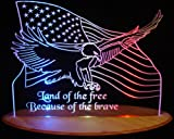 US Flag Bald Eagle with Words Acrylic Lighted Edge Lit LED Sign / Light Up Plaque