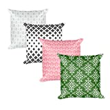 Damask Set of 4 Throw Pillows with Stuffings | Modern Chic Home Decor Collection (Set of 4, 18'' x 18'' each)