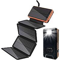 Oxsaytee Batería Externa 26800mah Power Bank Solar, Cargador Solar 2 entradas (5 Paneles solares y USB) Lámpara LED y…