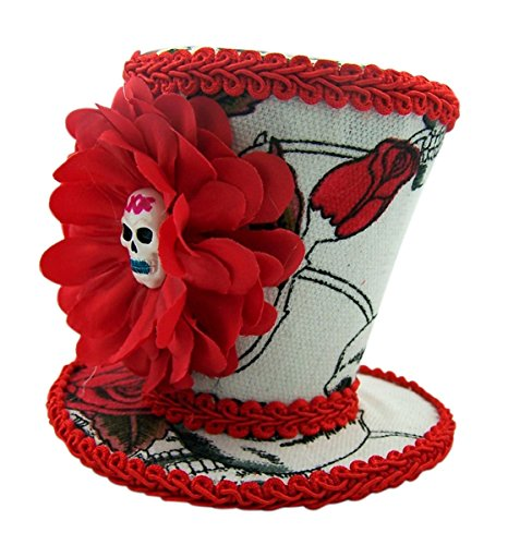 Skull and Red Roses Mini Top Hat Halloween Accessory - Halloween Hats