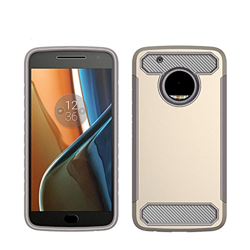 Price comparison product image for Motorola Moto G5 Plus ,Rugged Rubber Impact Armor Case (Gold)