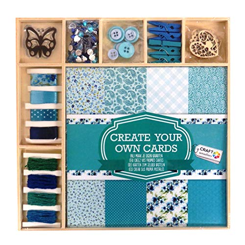 Craft Sensations Card Making Pack, Blues and Greens, 50 Items, Sheets, Twine, Stamp, Wooden Shapes, Buttons, Rhinestones and More