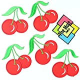 Lot of 6 (5+1) Cherry Fruit American Fresh Cute Embroidered Iron/Sew On Patch (RED)