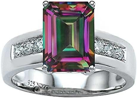 Star K Classic Octagon Emerald Cut 9x7 Ring with Rainbow Mystic Quartz