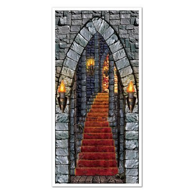 Halloween Castle Entrance Door Cover 30in. X 5ft. 1/pkg, (Halloween Entrance Prop)