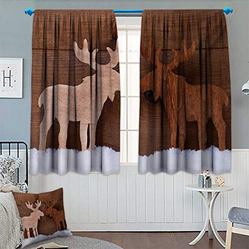 Chaneyhouse Moose Thermal Insulating Blackout Curtain Timber Elk Figure in Different Tones Romantic Noel Time Romance Joy Vintage Style Patterned Drape for Glass Door 63