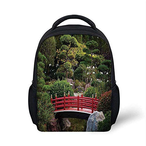 Apartment Decor Stylish Backpack,Tiny bridge Over Pond Japanese Garden Monte Carlo Monaco Along With Trees and Plants Decorative for School Travel,9.4