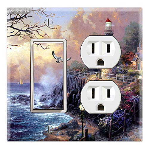 Graphics Wallplates - Landscape Drawings of Lighthouses - Rocker/GFCI Outlet Combo Wall Plate Cover ()