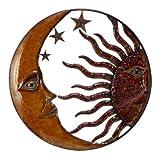 Cheap Benzara BM05395 Celestial Metal Sun Moon Wall Décor, Bronze Gold and Rust Red