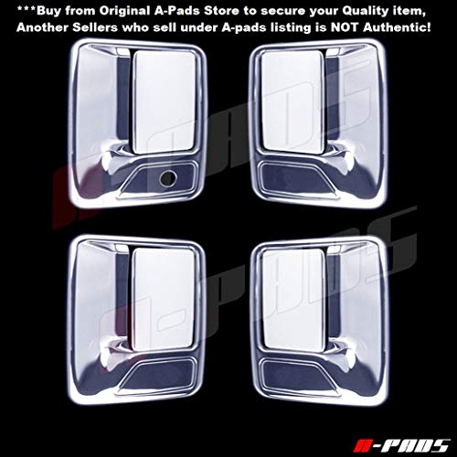 A-PADS 4 Chrome Door Handle Covers For Ford F-250, F-350, F-450 + Super Duty 1999-2016 - WITHOUT Passenger Keyhole