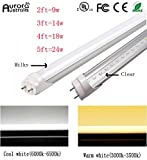 Easy-Installing & Clear T8 LED Tube Light - 5FT 59'' 150CM 24W, Double-End Powered, Milky Cover, Works from 85-265VAC Fluorescent Replacement Lamp (1, 5ft Warm White 3000K-3500K)