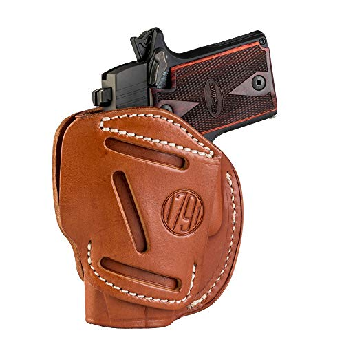 1791 GUNLEATHER 3-Way SIG P238 Holster - OWB CCW Holster Ambidextrous - Right or Left Handed Leather Gun Holster - Fits Sig Sauer P238, P365, Ruger LCP 380, SW Bodyguard (Classic Brown)