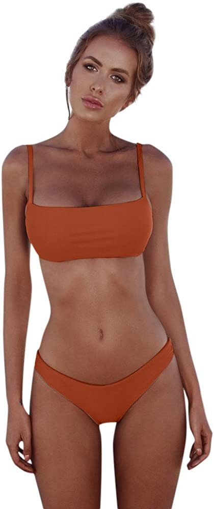 Costume da Bagno Brasiliana,Bikini Set da Donna Tinta Unita,Yanhoo/® Coordinati da Bikini per Donna Realizzato a Fascia Push-up Costumi da Bagno da Donna
