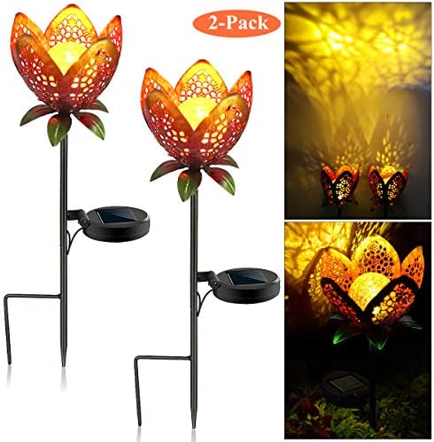 Lucstar Outdoor Solar Lights Garden Solar Flower Light for Pathway Decorative, Waterproof, Auto Lighting, Classic Retro Metal Hollow Landscape Stake Led Lamp for Yard Patio Party 2Pack-Red