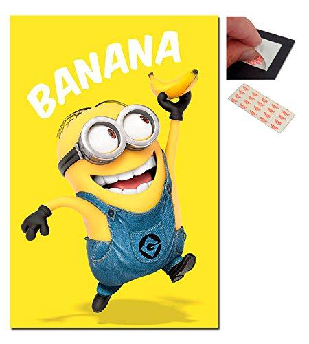 Bundle - 2 Items - Despicable me Minions Banana Poster - 91.5 x 61cms (36 x 24 Inches) and a Set of 4 Repositionable Adhesive Pads For Easy Wall Fixing -