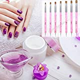7 Pieces 5 Sizes Acrylic Nail Brush Dual-ended UV