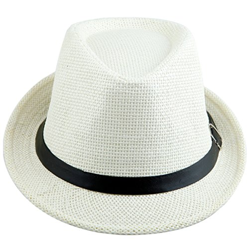 32fc610c1bcab7 Samtree Fedora Hats for Women Men,Vintage Knitted Straw Trilby Hat(White)