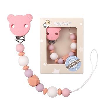Cadena con clip de silicona para chupete de bebé de Tyry.Hu, libre de BPA, suave y perfecto para jugar Rosa Bär