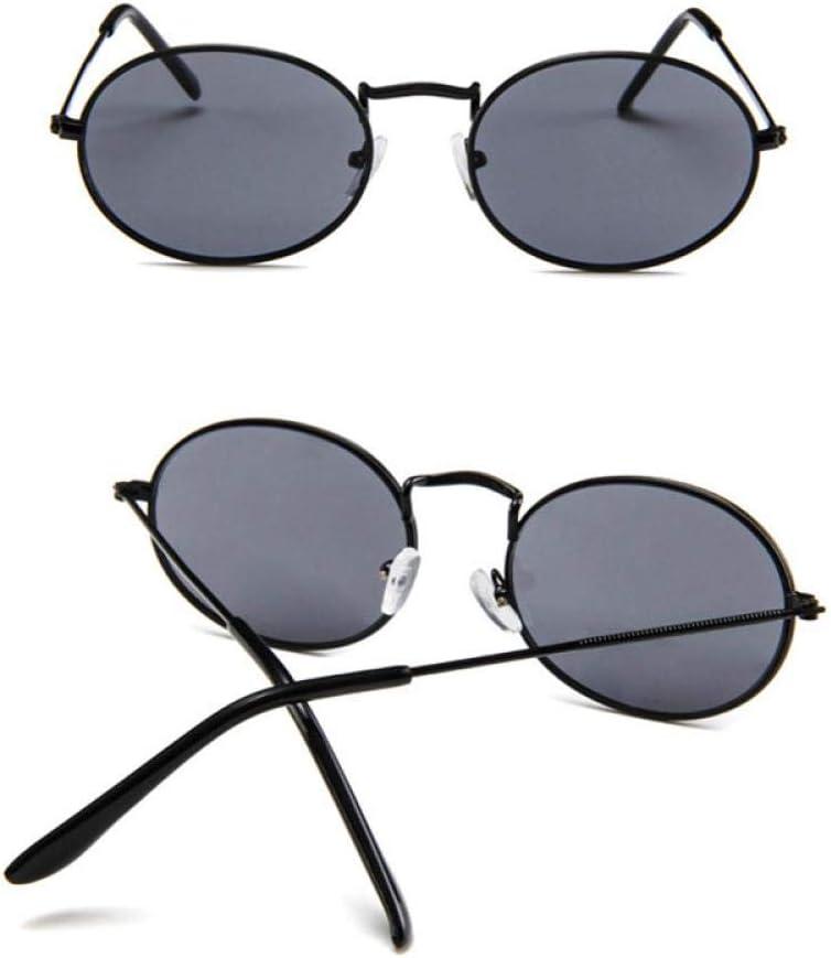 XVBTR Occhiali da Sole da Donna Occhiali da Sole ovali retrò in Metallo da Uomo Designer di Occhiali da Sole Occhiali da Sole Vintage Femminili BlackGray