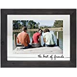 """Malden International Designs Rustic Woods Silkscreened Glass Floater """"The Best of Friends"""" Picture Frame Matted to Hold 4 by 6-Inch Photo, Black"""