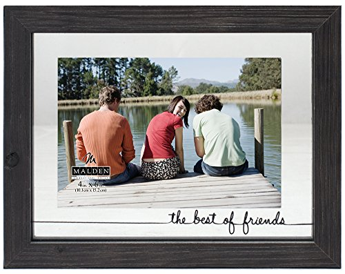 Malden International Designs Rustic Woods Silkscreened Glass Floater The Best of Friends Matted Picture Frame, 4x6/6x8, Black (Floater Frame Picture Frame)