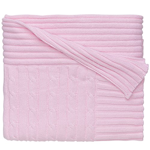 Elegant Baby 100% Cotton, Wide Cable Knit Blanket with Wide Ribbed Border 36 x 45 Inch in Pastel Pink (Pink Baby Border)