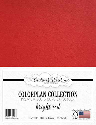 BRIGHT RED Cardstock Paper - 8.5 x 11 inch Premium 100 lb. Cover - 25 Sheets from Cardstock Warehouse (Scrapbook Cardstock Textured)