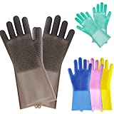 Glumes Clearance Magic Silicone Gloves, Reusable Brush Silicone Dish Scrubber Heat Resistant Gloves Kitchen Tool for Cleaning Household Pet Hair Care Dish Washing Car Washing, 2 Pack (Blue)