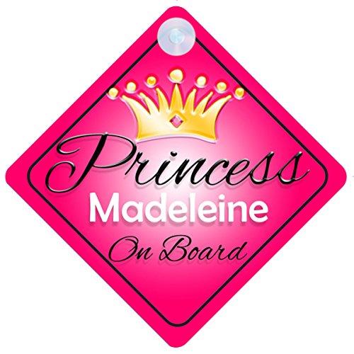 Princess Madeleine Christmas - Princess Madeleine On Board Personalised Girl Car Sign Baby / Child Gift 001