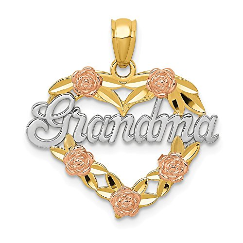 14k Two Tone Yellow Gold Grandma Heart Pendant Charm Necklace Grma Love S/love Message Fine Jewelry Gifts For Women For Her