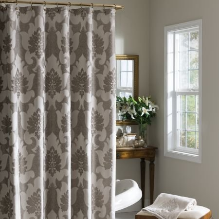 (Croscill Verona Taupe Floral Damask Fabric Shower Curtain)