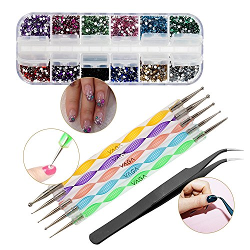 High Quality Professional Manicure Nail Art Decorations Tools Set Kit of Gems Rhinestones Crystals Mixed Colours Shapes in Case, Black Curved Tweezers and 5 Double Ended Dotting Marbling Tools By VAGA®