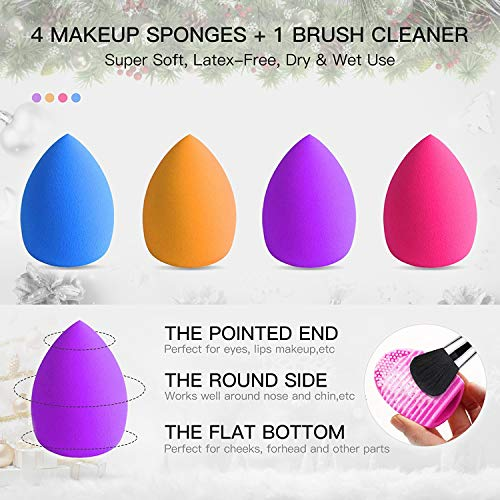 BESTOPE Makeup Brushes 16PCs Makeup Brushes Set with 4PCs Makeup Blender Sponge and 1 Brush Cleaner Premium Synthetic Foundation Brushes Blending Face Powder Eye Shadows Make Up Brushes Tool