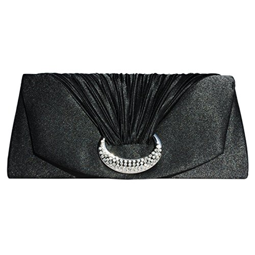 Black Diamante A Bag With Clutch And Ribbed Pocket Chain Sparkling Long Inner Satin 7TnBSqU